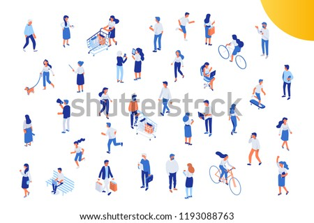 Different isomeric people vector set isolated on white. Male and female characters. Flat isometric vector.