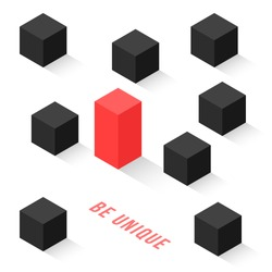 different isometric cubes like be unique. concept of change your way in life or independent person in society. simple flat style trend modern logo graphic design isolated on white background
