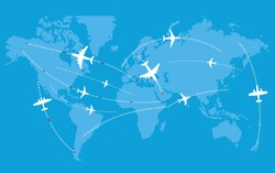 Different jets paths. Civil airplanes trajectories on world map