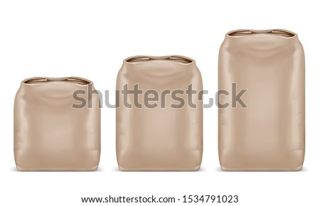 Different kg kraft paper bags set. Mockup template for food and building material. Blank Packaging design. Realistic 3d vector illustration isolated on white background