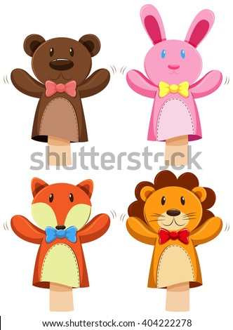 Different kind of animal puppet illustration Foto stock ©