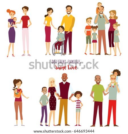 Different kind of families. Big, gay, special needs children, blended families. Vector illustration.