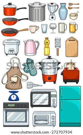 Different kind of kitchen objects stock photo