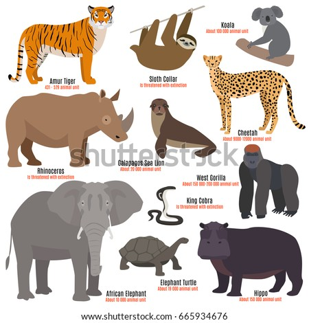 Different kinds deleted species die out rare uncommon red book animals dying wild nature characters vector illustration Сток-фото ©