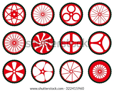 Different kinds of bike wheels. Bike wheels with tires and spokes. Bicycle icons series.