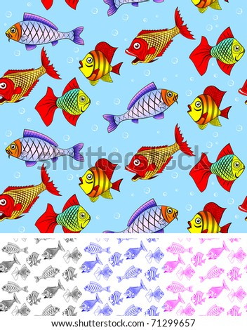 Different kinds of fish. Seamless. You can repaint any color. You can repaint any color.