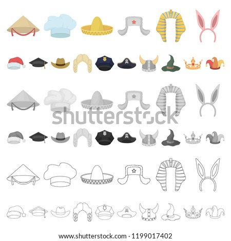 eea8c441126c3 ... Different kinds of hats cartoon icons in set collection for design. Headdress vector symbol stock ...