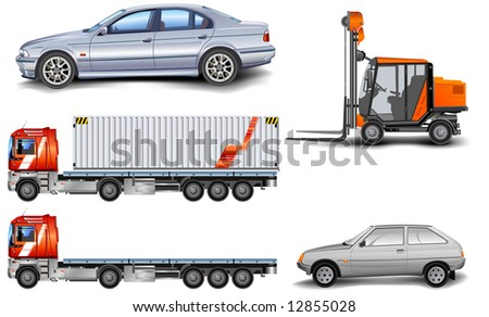 Different kinds of machine: lorry, freight elevator, car, illustration