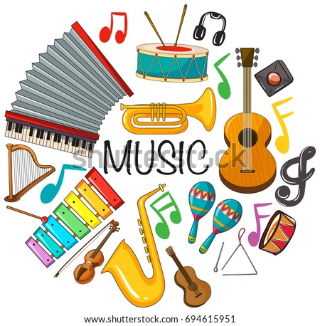 Different kinds of musical instruments illustration #694615951