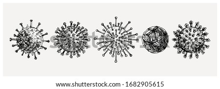 Different kinds of virus - sketches collection. Biology organisms illustration in vintage engraved style. Respiratory virus infection macro drawings. Corona Virus.  Coronavirus 2019-nCoV and other.