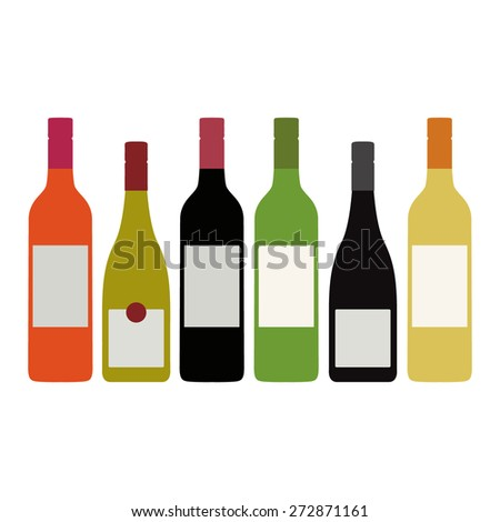 Different Kinds of Wine Bottles With Labels  #272871161
