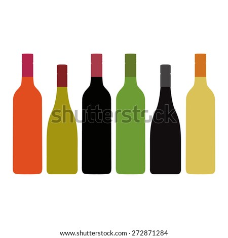 Different Kinds of Wine Bottles Without Labels  #272871284
