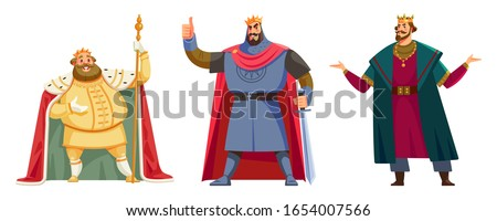 Different kings wearing crowns. Happy kings show sight thumbs up and good luck. Cartoon vector illustration isolated in white background. Kings - tall and short, slim and fat, young and old. Stockfoto ©