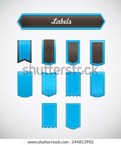 Different labels. Blue labels of various shapes.