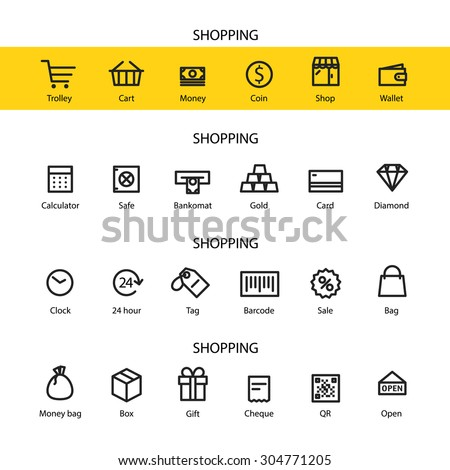 Different line style icons set. Shopping #304771205