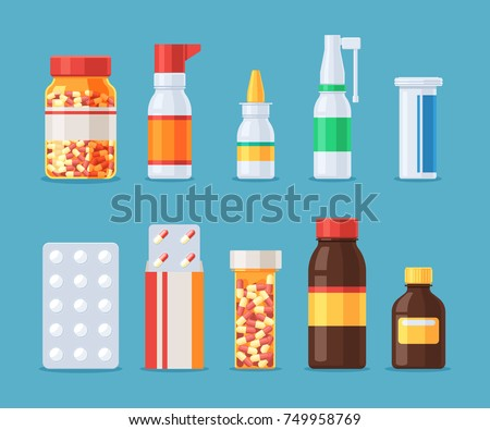 Different medical pills and bottles, blisters of tablets and capsules. Medicine and drugs icon set. Vector illustration in flat cartoon style isolated on blue background