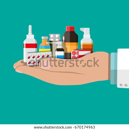 Different medical pills and bottles in hand of doctor, healthcare and shopping, pharmacy, drug store. Vector illustration in flat style