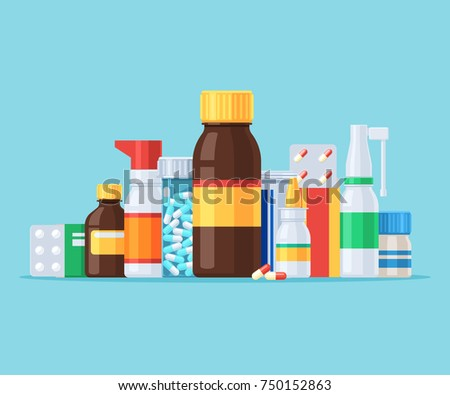 Different medical pills and bottles. Throat spray and nasal drops. A set of pharmaceutical drugs. Vector illustration in flat style cartoon isolated on blue background