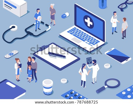 Different medical staff with their patients.  Healthcare concept. Flat isometric  vector illustration.