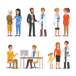 Different medical staff with their patients. Vector medicine illustration