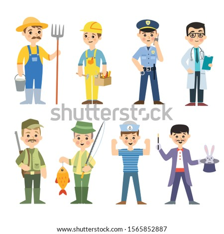 Different men occupations and hobbies. Farmer, construction worker , policeman, doctor, hunter, fisherman, sailor and magician. Cute vector illustrations.