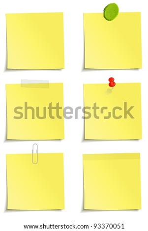 Different methods of attachment of the notes: clip, scotch tape, plasticine, sticker, pin