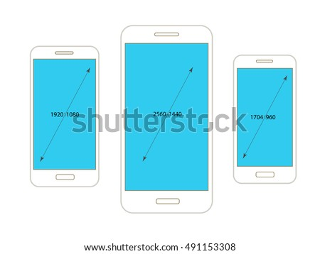 Different modern smartphone resolutions mockups isolated on white
