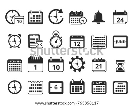 Different monochrome symbols of time management. Vector icon set. Time and clock, calendar office, planning and organization illustration
