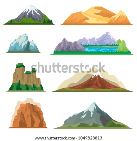 different mountain set isolated