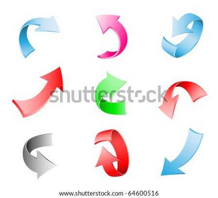 Different multi-colored 3d arrows isolated on the white background