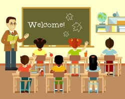 Different multicultural school children group and young teacher man at class lesson in flat style isolated on white background