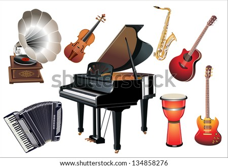 Different music instruments on the white background