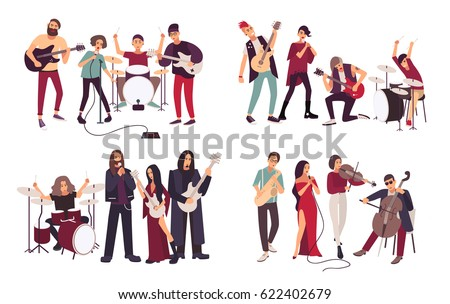 Different musical bands. Indie, metal, punk rock, jazz, cabaret. Young artists, musicians singing and playing music instruments. Colorful flat illustration set.
