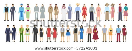 Different nations set on white background. All kinds of nationalities as arabian and chineese, irish and indians, african american and more.