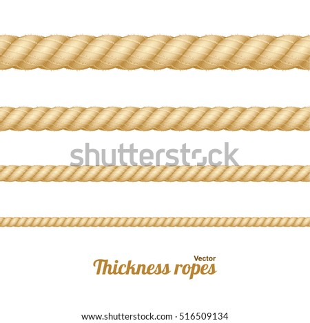 Shutterstock Different Nautical Twine Brown Thickness Rope Set Isolated on a Light Background. Vector illustration of twisted thick knot lines. Graphic string cord for borders.