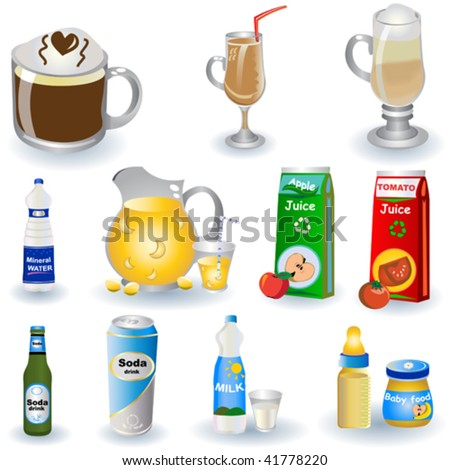Different non-alcoholic beverages isolated on white background.