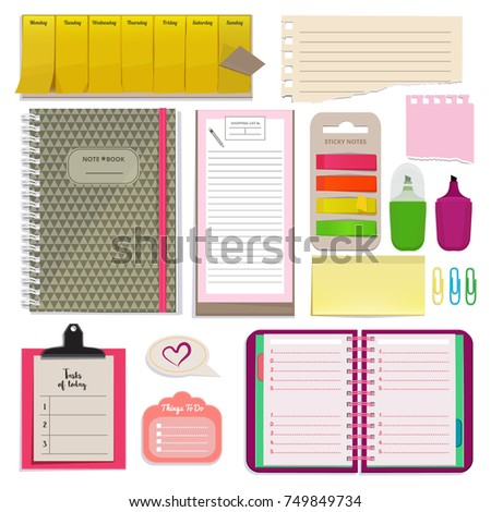 Different notebooks, notes, daily agendas and papers for organizer. Planner pad and organizer notebook. Vector page for note daily and schedule planner illustration