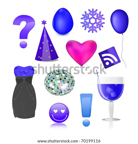 different object set - question, balloon, rss, heart, ball, cocktail, smile, snow, egg