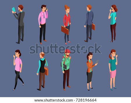 Different office people standing and using gadgets. Isometric woman and businessman vector illustration