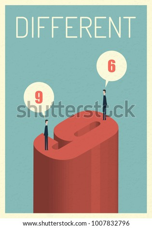 Different Opinions 6 and 9 . Eps10 vector illustration, Symbol Growth, economy, investment , technology, leadership,Successful vision and idea concept  , Minimalist retro poster