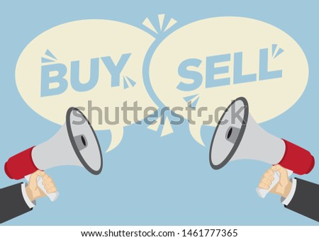 Different opinions of buy or sell. Business concept of disagreement, negotiation or miscommunication. Vector illustration.