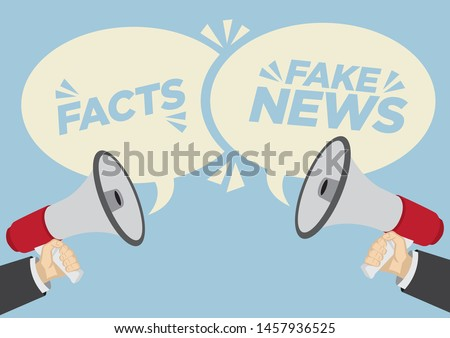 Different opinions of facts or fake news. Business concept of disagreement, negotiation or miscommunication. Vector illustration.