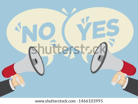 Different opinions of yes and no. Business concept of disagreement, negotiation or miscommunication. Vector illustration.