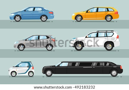 Different passenger car vector. Sedan car, universal car, hatchback, off-road, SUV, mini car, limousine
