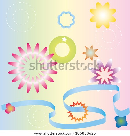 Different pastel ribbons, stars and flowers.