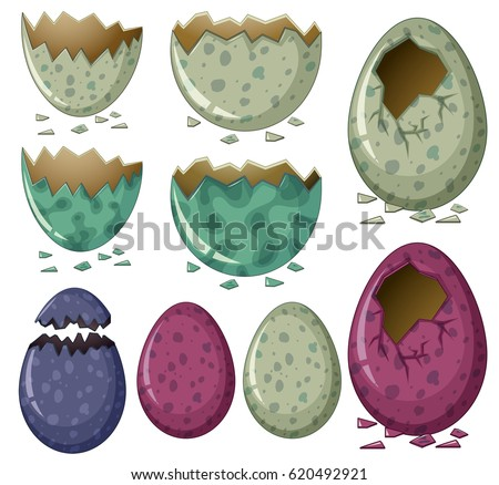 Different patterns of dinosaur eggs illustration