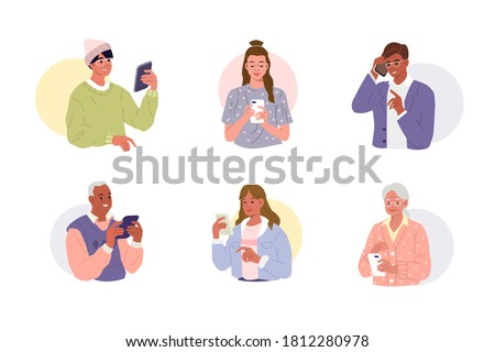 Different people are using smartphones, chatting and making selfie. Young, adult and elderly persons talking and typing on the phones. Female and Male characters set. Flat cartoon vector illustration.