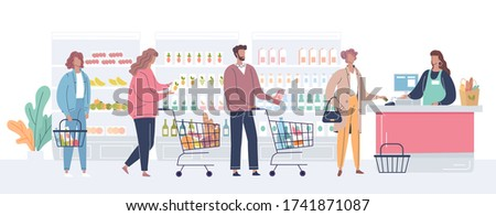 Different people buy goods and stand in line at the store