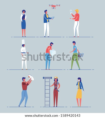 Different People Cartoon Characters Set. Professional and Occupational Diversity, Male and Female Gender Equality and Unusual not Common Occupations Men and Women. Flat Vector Illustrations Isolated.
