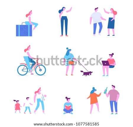 Different people characters. Set 4. Flat vector illustration isolated on white.